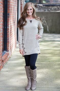 Magnolia Boutique Indianapolis - Knit Button Detail Tunic - Taupe, $36.00 (http://www.indiefashionboutique.com/knit-button-detail-tunic-taupe/)