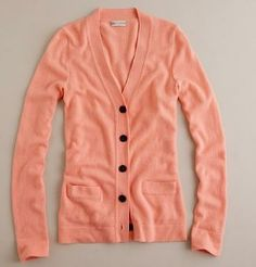 J. Crew cashmere V-neck cardigan in sweet guava