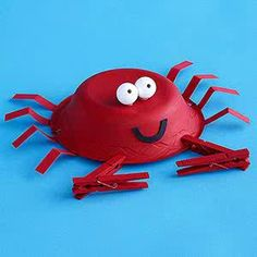 Crab Styrofoam bowl, pipe cleaners  clothes pins!