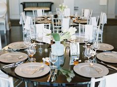 Silver and blue table setting ideas