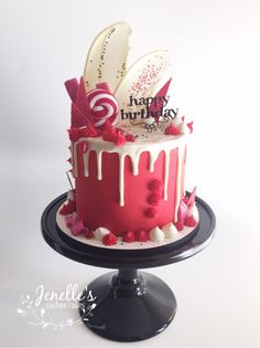 Red drip cake by Jenelle's Custom Cakes!