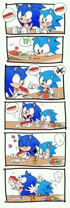 KKKkkk Sonic BEBÊ quer cachorro quente que...fofo...