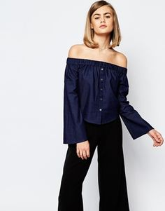 Off-the-shoulder Denim Style Blouse