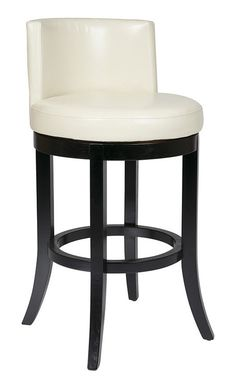 "Office Star 30"""" Swivel Eco Leather Barstool in Cream MET21BCM"