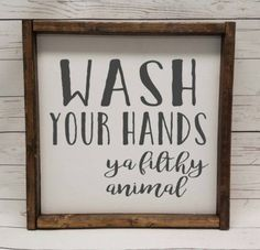Wash your hands ya filthy animal Farmhouse style kid or master bathroom framed sign fixer upper handpainted thankful home decor DIY Small Bathroom, Master Bathroom, Big Bathrooms, Washroom, Bathroom Canvas, Gold Bathroom, Family Bathroom, Beautiful Bathrooms, Moroccan Bathroom