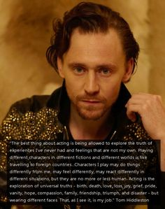 Tom Hiddleston on acting