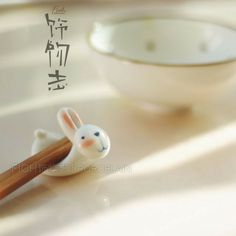 Rice eye bunny chopsticks holder carriage household pottery handmade ceramic tableware