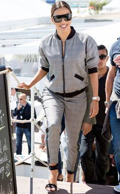 Eva Longoria from Cannes 2017: Street Style This high-fashion tracksuit is totally yacht-ready.