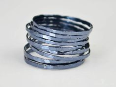 Abby's Life: Super Thin Gunmetal Silver Stackable Ring(s),Gunmetal Ring,Stack. Baguette Engagement Ring, Baguette Diamond Rings, Engagement Rings, Silver Stacking Rings, Stackable Rings, Silver Rings, Silver Bracelets, Bangles, Measure Ring Size