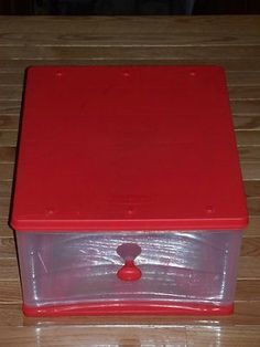 Found these stackable drawers at Goodwill and they're awesome. Rubbermaid 15x18 Red Storage Drawer Stackable | eBay