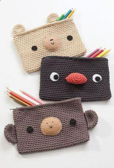 Crochet Pencil Cases .