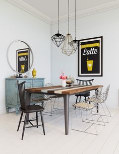The diamond-shaped light fixtures and striped dining table are a bit quirkier than some of the other Scandinavian designs.