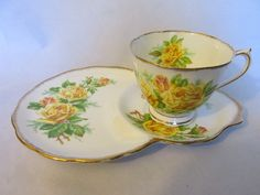 "Vintage Royal Albert ""Tea Rose"" English bone china dessert cup & saucer - 1950s"