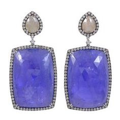 Huge Tanzanite and Diamond Earrings