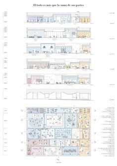 Very interesting floor plan. Architecture Graphics, Architecture Student, Architecture Drawings, Architecture Plan, Photoshop Rendering, Plant Drawing, Presentation, Floor Plans, Diagram