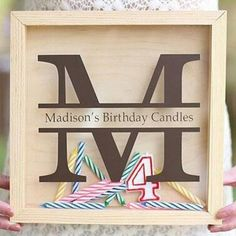 Personalized Birthday Candle Keepsake Shadow Box-Display your child's birthday candles throughout the years. Cherish the memories with this beautiful keepsake candle keeper shadow box. The color of the box comes as shown in the natural wood finish or Unique First Birthday Gifts, First Birthday Candle, Personalized Birthday Gifts, Girl First Birthday, Birthday Gifts For Girls, Birthday Candles, First Birthdays, First Birthday Traditions, Birthday Celebration