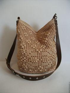 Купить вязаная сумка-торба, цвет: бежевый - бежевый, вязаная сумка, сумка женская, торба Leather Books, Leather Notebook, Leather Journal, Crochet Purse Patterns, Crochet Purses, Handmade Bags, Handmade Bracelets, Granny Square Bag, Burlap Bags