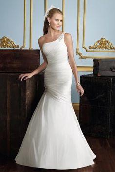 JILL - A-line Mermaid Chapel train Taffeta One shoulder Wedding dress