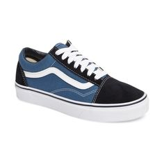 Women's Vans Old Skool Sneaker ($60) ❤ liked on Polyvore featuring shoes, sneakers, navy, navy blue shoes, striped sneakers, retro shoes, navy shoes and vans trainers