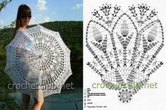 These umbrellas crochet can not protect you from the rain, but they are the perfect creative design of a rainy day! They also serve as shade from the sun, a beautiful addition to a costume or just dec Filet Crochet, Crochet Motifs, Crochet Diagram, Crochet Chart, Thread Crochet, Crochet Doilies, Crochet Stitches, Knit Crochet, Lace Umbrella