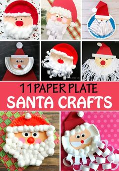 Paper plate Santa crafts for kids to make this Christmas. Santa Crafts For Kids To Make, Paper Plate Crafts For Kids, Christmas Activities For Kids, Craft Stick Crafts, Fun Crafts, Craft Sticks, Paperplate Christmas Crafts, Easy Christmas Crafts, Christmas Paper