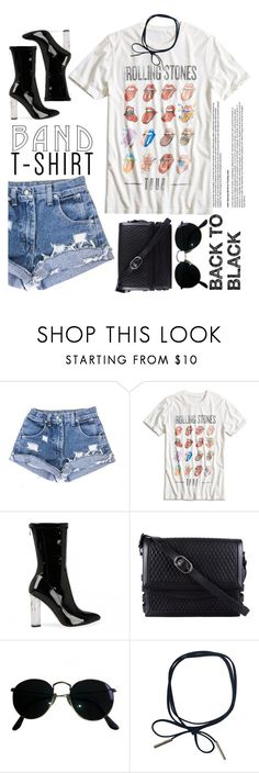 """""""I'm With The Band"""" by indhrios ❤ liked on Polyvore featuring Lucky Brand, Christian Louboutin, Ray-Ban, bandtshirt and bandtee"""