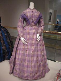 2012-08-25 KSMF -  Lavender taffeta day dress with warp printed flowers, circa 1865-1867.