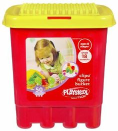 Playskool Clipo Figure Bucket by Hasbro. $10.65. The peg-covered shapes easily connect to each other so little hands can build all sorts of creative structures!. Add even more CLIPO blocks (sold separately) to your toddler's creations and the possibilities are endless!. Kids' imaginations can run wild with these unique building blocks!. Fifty colorful shapes are sure to give your little one's creativity a boost, constructing all kinds of people, places and th...