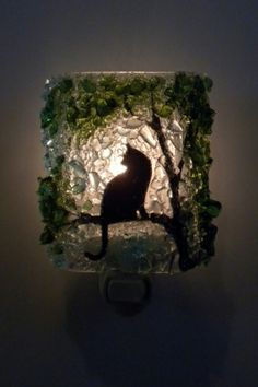 Cat Recycled Glass Night Light