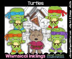Ninja Turtle Clip Art, BONUS Lineart, Digital Stamps, Clipart, Black and White, Line Art, Movie, Cartoon, TMNT, by ResellerClipArt on Etsy