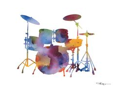 Drums Art Print Abstract Watercolor Painting by 1GalleryAbove