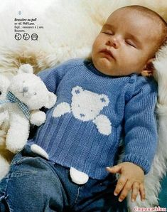 a cute teddy sweater - La Grenouille un pull au nounours trop mignon – La Grenouille Tricote a sweater with a cute teddy bear: it is a model that I love very much, I finally found the explanations and I am delighted - Baby Boy Knitting Patterns, Baby Clothes Patterns, Knitting For Kids, Baby Patterns, Free Knitting, Crochet For Boys, Crochet Baby, Crochet Amigurumi, Trendy Baby Clothes