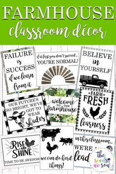 Ready for a quick and easy way to add some farmhouse-love to your classroom? Look no further! This eye-catching and fun poster set will do just that! #classroomposters #farmhouseclassroomdecor #farmhouseclassroomtheme #farmhouseclassroom #farmhouseposters