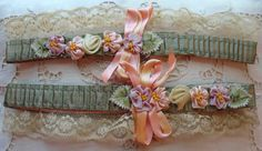 Circa One Pair Of Exquisite Silk Garters Adorned With Ribbon Rosettes Ombre Leaves and Lace Ribbon Rosettes, Ribbon Art, Fabric Ribbon, Ribbons, Handmade Flowers, Diy Flowers, Vintage Flowers, Vintage Pink, De Gournay Wallpaper