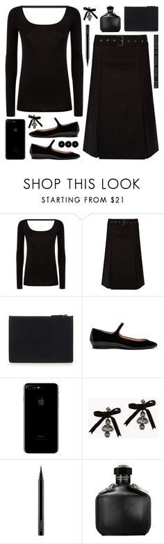 """""""Black monochrome"""" by deepwinter ❤ liked on Polyvore featuring Helmut Lang, Acne Studios, Dsquared2, MAC Cosmetics, John Varvatos, Edward Bess, monochrome and allblack"""