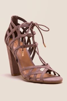 Jilly Strappy Lace-Up Block Heel- Taupe