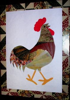 iris fold rooster card...so cute!