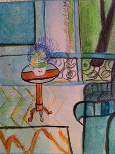 salon pour table de chevet (c)AP2013 largement inspiré d'H. Matisse crayon et aquarelle