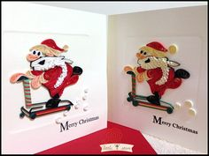 Merry Christmas Quilling Art Handmade Greeting Cards - Santa riding skateboard