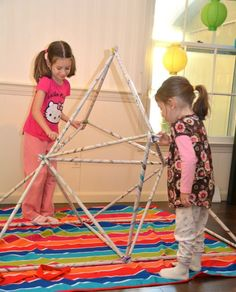 Newspaper Play Structures -- kids can build & re-build them. Throw a sheet overtop for an instant reading nook. :-)