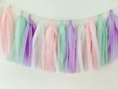 Tissue tassel garland in pastels pink mint lavender by PomJoyFun, $19.00
