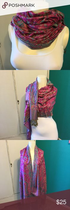 New Vibrant Versatile Oversized Scarf/Wrap Superb Quality Versatile Scarf/Wrap/Shaw you Decide Awesome Versatility with this Piece.  Purchased in Venice, Italy makes for a Great Holiday  Accessories Scarves & Wraps