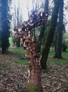 Pixel Tree Trunk Sculptures Created by Anthony... | it8Bit