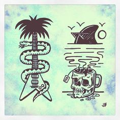 Just some things...  #jamiebrowneart #palmtree #fin #skull #tea #shades…