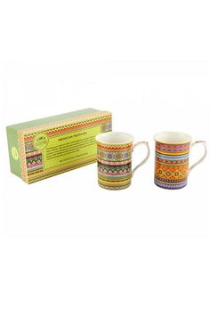 Inspired by textiles around the world. Set of 2, beautiful ceramic mugs, printed with the exotic textiles of Mexico.    Gift boxed (Size: 23 x 9 x 9cm)   Mexican Mug Set by Pink Poodle Boutique. Home & Gifts - Home Decor - Dining Glasgow, Scotland, United Kingdom