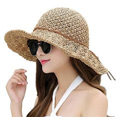 58609fe05fc Headcovers Unlimited Women Floppy Hat Hollow Straw Hat Wide Brim Beach Hat  Sun Hat can be Folded