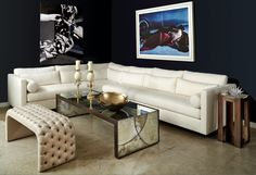 Our Meridian Sofa, sectional version. Floats on recessed wood base.  Please inquire for your size!  Made in Miami