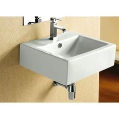 Bathroom Sink Square White Ceramic Wall Mounted or Vessel Bathroom Sink CA4034 Caracalla CA4034