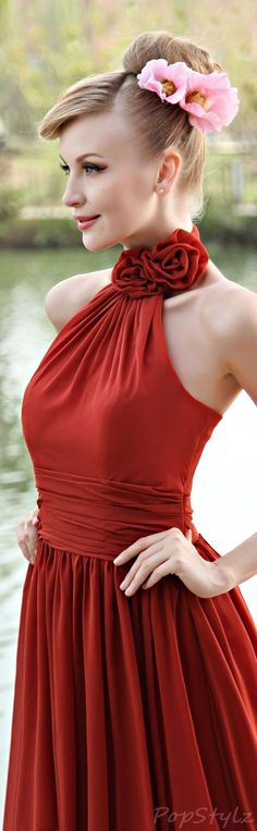Honeystore Chiffon Halter Style Gown