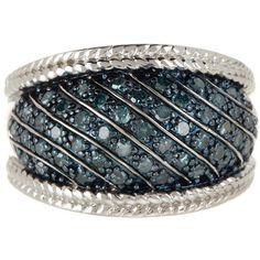 Savvy Cie Pave Blue Diamond Ring - 0.65 ctw ($280) ❤ liked on Polyvore featuring jewelry, rings, blue diamond jewelry, pave ring, diamond cocktail rings, diamond jewelry and cocktail rings